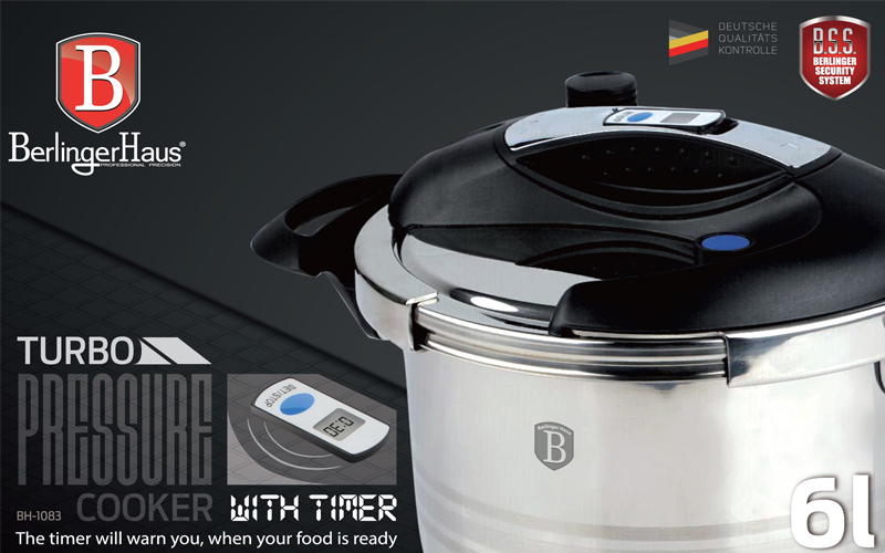 Berlinger Haus BH-1083 Χύτρα Ταχύτητας 6L με Χρονοδιακόπτη από Ανοξείδωτο Ατσάλι και Πάτο Induction κατάλληλο για όλες τις εστίες - Berlinger Haus