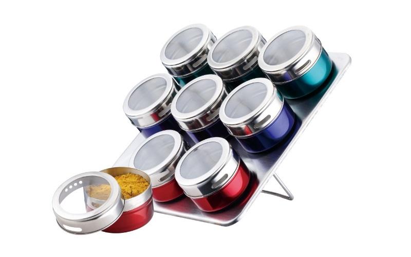 Peterhof Σετ πολύχρωμα μαγνητικά βάζα μπαχαρικών 9 τεμ. από ανοξείδωτο ατσάλι με κουζίνα   οργάνωση κουζίνας