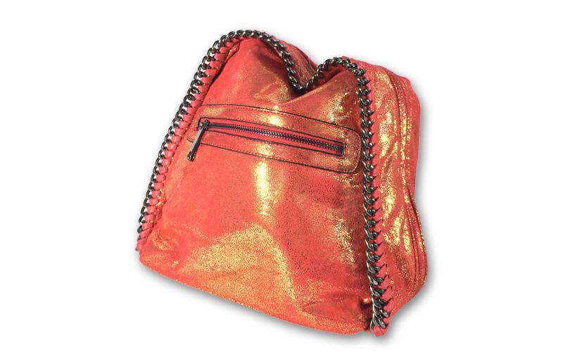 Γυναικεία Τσάντα Πλάτης σε κόκκινο λαμέ χρώμα, 24x29x14cm, Dudlin 3150-28 RED -  ρούχα  παπούτσια  και  αξεσουάρ   τσάντες  πορτοφόλια  βαλίτσες ταξιδίου