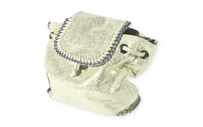 Γυναικεία Τσάντα Πλάτης σε μπεζ λαμέ χρώμα, 24x29x14cm, Dudlin 3150-29 - Dudlin ρούχα  παπούτσια  και  αξεσουάρ   τσάντες  πορτοφόλια  βαλίτσες ταξιδίου