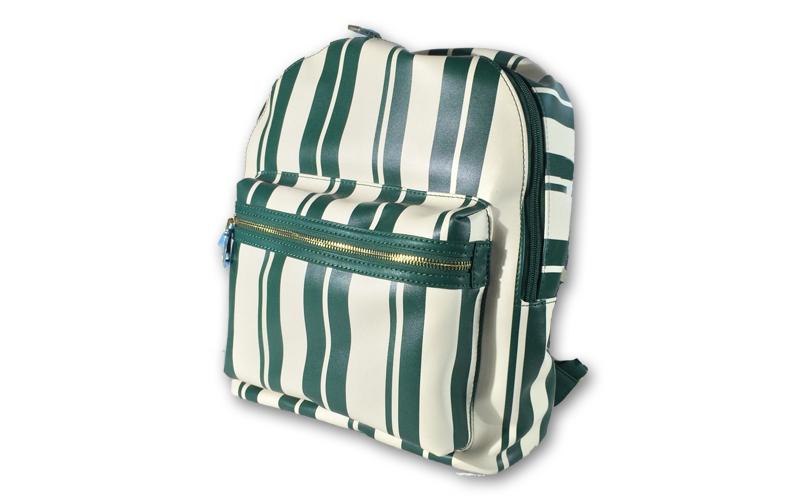 Γυναικεία Τσάντα Πλάτης σε λευκό πράσινο ριγέ χρώμα, 37x31x16cm, Alex Max 424C - ρούχα  παπούτσια  και  αξεσουάρ   τσάντες  πορτοφόλια  βαλίτσες ταξιδίου