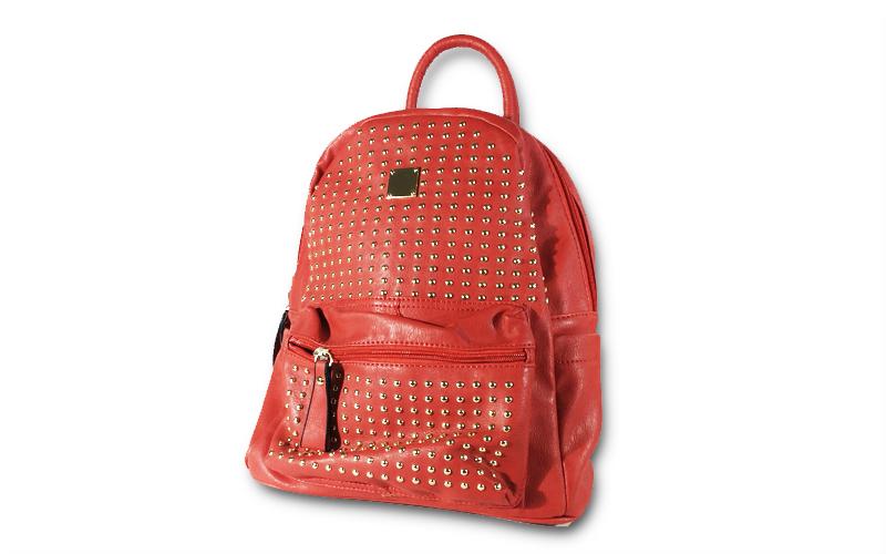 Γυναικεία Τσάντα Πλάτης σε κόκκινο χρώμα με διακοσμητικά τρουκ, 33x27x15cm, 8178 ρούχα  παπούτσια  και  αξεσουάρ   τσάντες  πορτοφόλια  βαλίτσες ταξιδίου