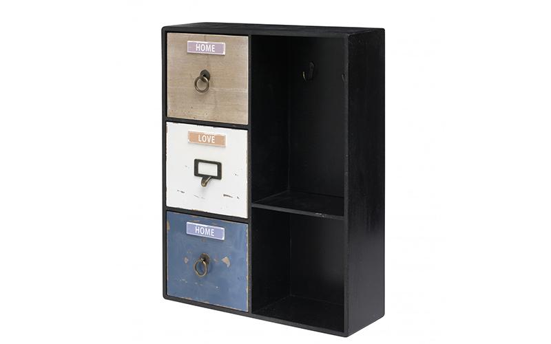 Arti Casa 90755 Ξύλινη vintage κλειδοθήκη ντουλάπι 5 θέσεων 38x12x49cm με αποθηκ οργάνωση σπιτιού   ντουλάπες