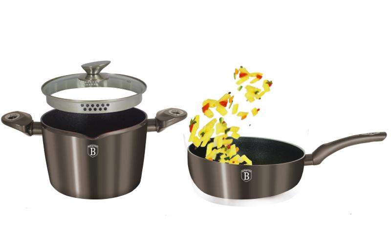 Σετ Αντικολλητικά Μαγειρικά Σκεύη 3τεμ σε Carbon Χρώμα με τριπλή μαρμάρινη επίστρωση, πάτο Turbo Induction αποτελούμενο απο 1 κατσαρόλα με γυάλινο