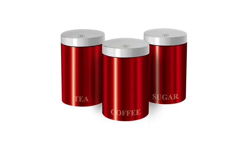 Berlinger Haus Μοντέρνο Σετ Μεταλλικών Βάζων για καφέ, ζάχαρη και τσάι 3τμχ. σε Κόκκινο Μεταλλικό χρώμα με Μεταλλικό καπάκι, Passion Collection, BH-1343 – Berlin