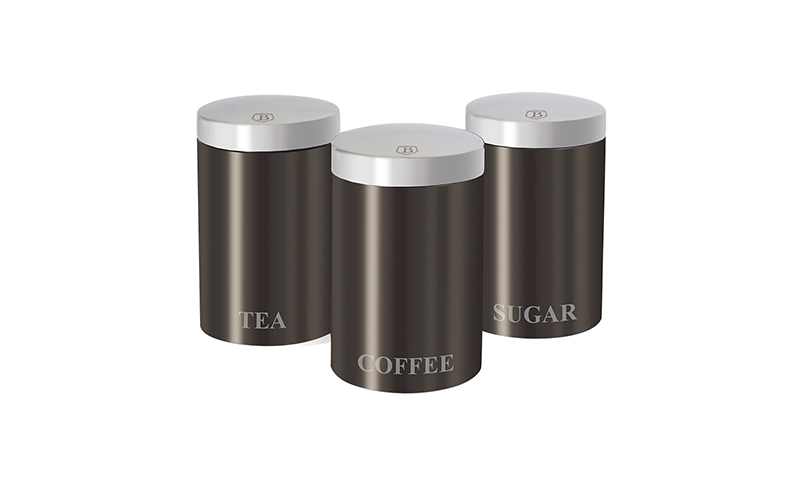 Μοντέρνο Σετ Μεταλλικών Βάζων για καφέ, ζάχαρη και τσάι 3τμχ. σε Carbon Μεταλλικό χρώμα με μεταλλικό καπάκι, Passion Collection, Berlinger Haus BH-1348 – Berlinger Haus