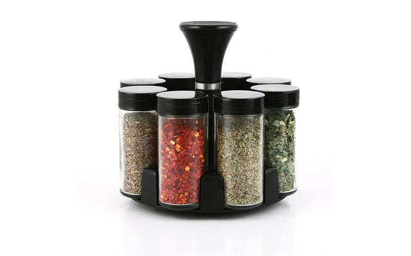 Σετ γυάλινα βαζάκια μπαχαρικών 8 τεμ με Μαύρα καπάκια και περιστρεφόμενη βάση, L για την κουζίνα   οργάνωση κουζίνας