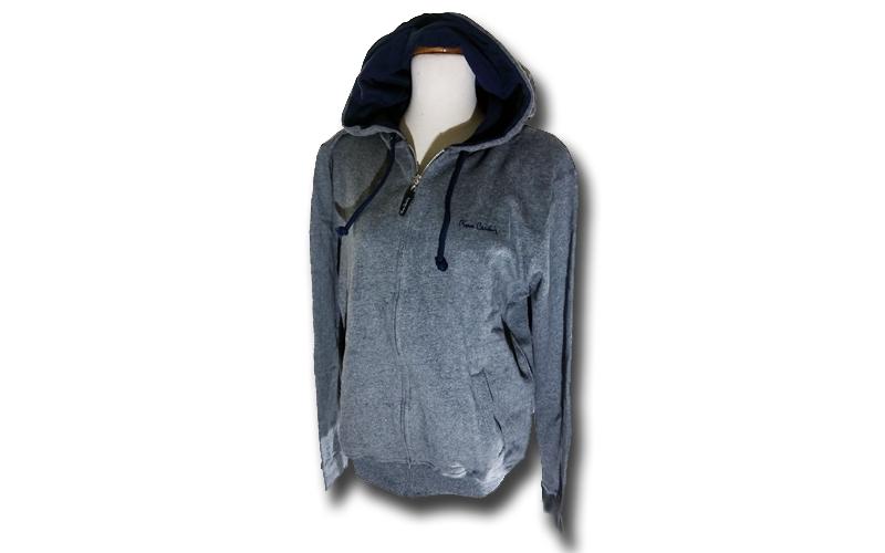 Ανδρική Ζακέτα με κουκούλα Pierre Cardin σε Grey Melange Χρώμα με λογότυπο στο σ ανδρική ένδυση   ανδρικά φούτερ πουλόβερ και μπουφάν