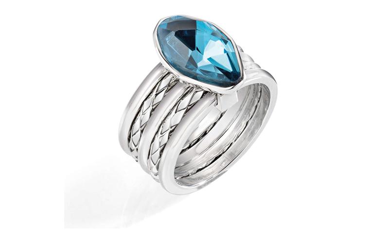 Γυναικείο Κόσμημα Δαχτυλίδι από ανοξείδωτο ατσάλι σε Ασημένιο Χρώμα με Γαλάζιο Κ γυναικεία αξεσουάρ και κοσμήματα   γυναικεία δαχτυλίδια
