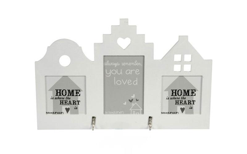 Arti Casa 88129 Κλειδοθήκη ξύλινη Σπίτι 2 θέσεων σε χρώμα Λευκό - Arti Casa έπιπλα   κλειδοθήκες