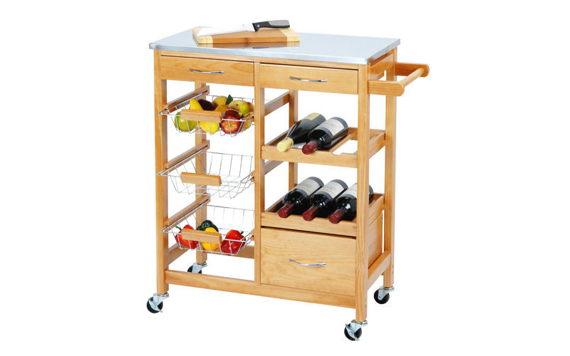 Ξύλινο Καρότσι Κουζίνας για την Οργάνωση και Μεταφορά αντικειμένων και τροφίμων