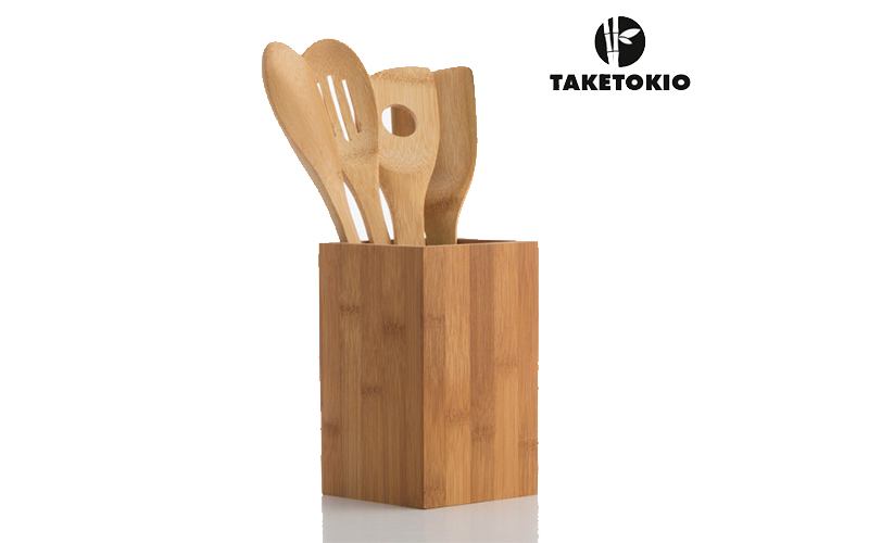 Σετ Εργαλείων Μαγειρικής κουτάλες 5 τμχ από μπαμπού με θήκη αποθήκευσης, bamboo  αξεσουάρ και εργαλεία κουζίνας   κουτάλες   σπάτουλες   πιρούνες