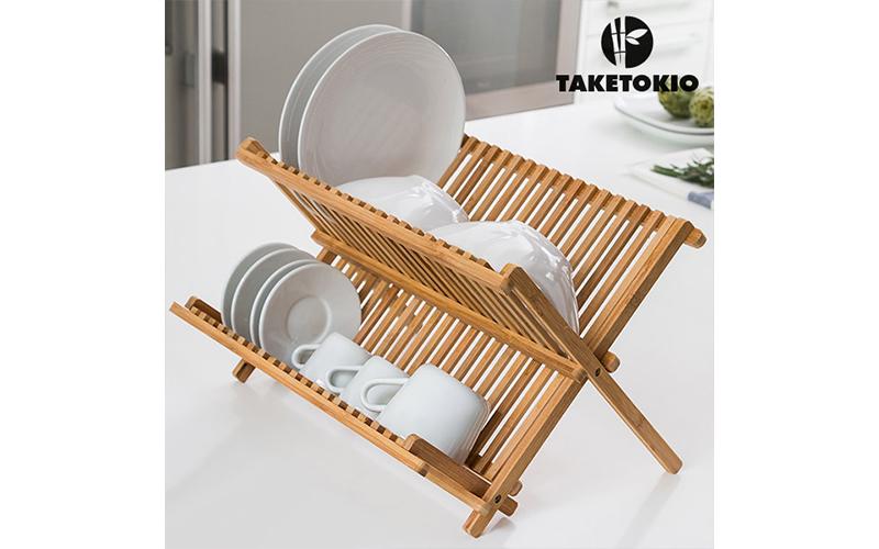 TakeTokio πιατοθήκη bamboo Πτυσσόμενο Στεγνωτήριο πιάτων από μπαμπού 42x32x26cm  αξεσουάρ και εργαλεία κουζίνας   άλλα αξεσουάρ κουζίνας