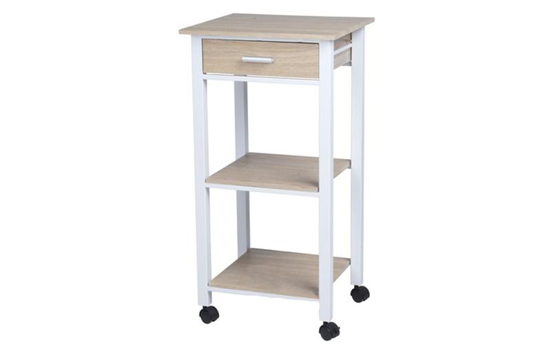 Ξύλινο Τρόλεϊ Κουζίνας 42x37x81cm με 1 συρτάρι και 2 ράφια, Homestyle 99516 - Ho για την κουζίνα   διάφορα κουζίνας