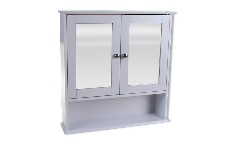 Homestyle 98072 Ξύλινο Ντουλάπι Τοίχου με Καθρέφτη στις πόρτες 56x13x58cm σε Λευ έπιπλα   οργανωτές αντικειμένων