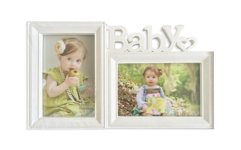 """Λευκή Παραλληλόγραμμη Κορνίζα 30x17.5cm με θέμα """"Baby"""", W309 - OEM διακόσμηση και φωτισμός   κορνίζες φωτογραφιών"""