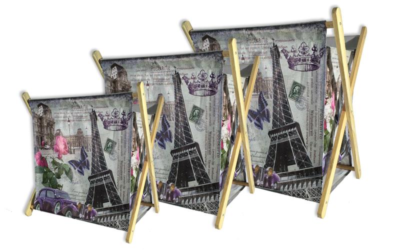 Σετ 3 τμχ. Πτυσσόμενες Θήκες για Περιοδικά και Εφημερίδες με θέμα το Παρίσι, Par διακόσμηση   διάφορα διακοσμητικά