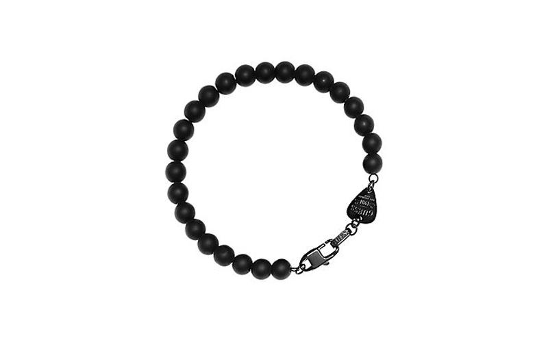 Αντρικό Κόσμημα Βραχιόλι 20cm από Ανοξείδωτο Ατσάλι με Μαύρες χάντρες, Guess UMB ανδρικά αξεσουάρ και κοσμήματα   ανδρικά βραχιόλια