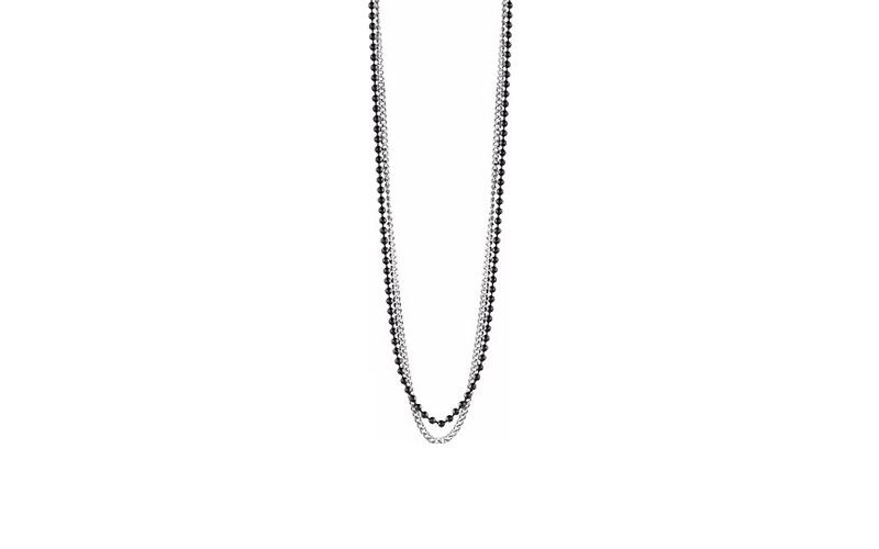 Αντρικό Κόσμημα Κολιέ 57cm από Ανοξείδωτο Ατσάλι και διπλή σειρά χάντρες σε Μαύρ ανδρικά αξεσουάρ και κοσμήματα   ανδρικά κολιέ