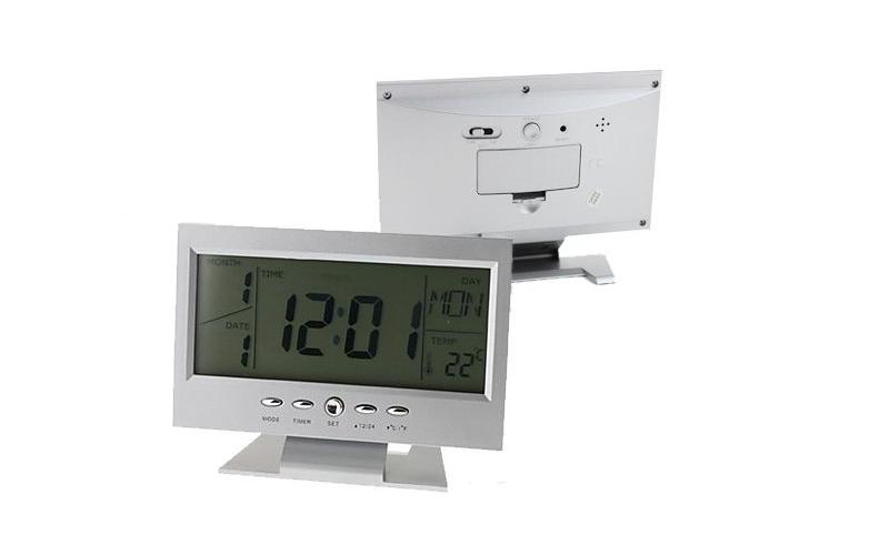 Ρολόι - Ξυπνητήρι με αισθητήρα ήχου, LCD οθόνη & Ένδειξη θερμοκρασίας σε Ασημί χρώμα, DS-8082 - OEM
