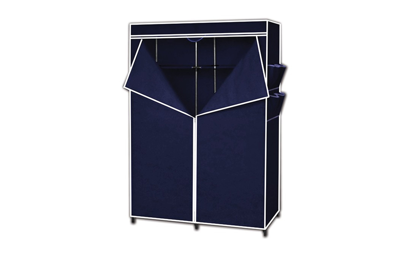 Διπλή Φορητή Υφασμάτινη Ντουλάπα 110x45x160 cm με Μεταλλικό Σκελετό σε Μπλε χρώμ οργάνωση σπιτιού   ντουλάπες