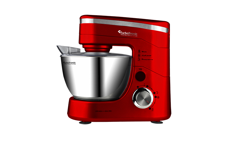 Turbotronic Κουζινομηχανή μίξερ ζαχαροπλαστικής 1200 Watt με κάδο 4,5 λίτρα ανοξείδωτο μπώλ και 3 εξαρτήματα Υψηλής Ποιότητας, TT-001