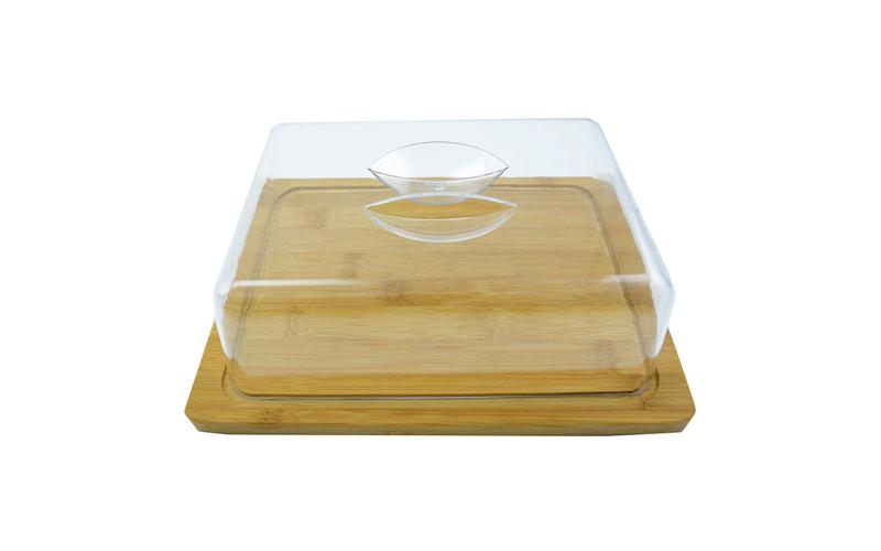 Bamboo Βάση κοπής από Μπαμπού με καπάκι για αποθήκευση τυριών 25x8x20cm - Bamboo σερβίρισμα   δίσκοι  πιατέλες και ορντεβιέρες
