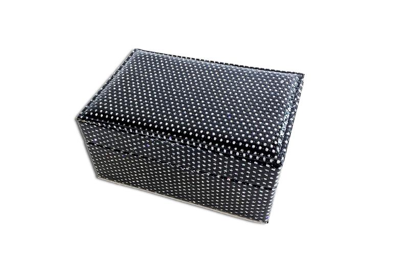 Κοσμηματοθήκη - Μπιζουτιέρα σε Μαύρο χρώμα καλυμμένη με Στρας και καθρέφτη 18x12 γυναίκα   αξεσουάρ   κόσμημα