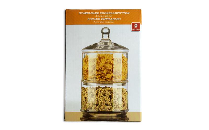 Γυάλινο βάζο αποτελούμενο από 2 κομμάτια με καπάκι για μπισκότα ή δημητριακά 16x αξεσουάρ και εργαλεία κουζίνας   βαζάκια και θήκες μπαχαρικών