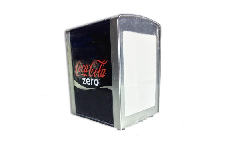Μεταλλική Θήκη για Χαρτοπετσέτες 10x9.8x14cm με θέμα Coca-Cola Zero, 613-400029  για την κουζίνα   οργάνωση κουζίνας