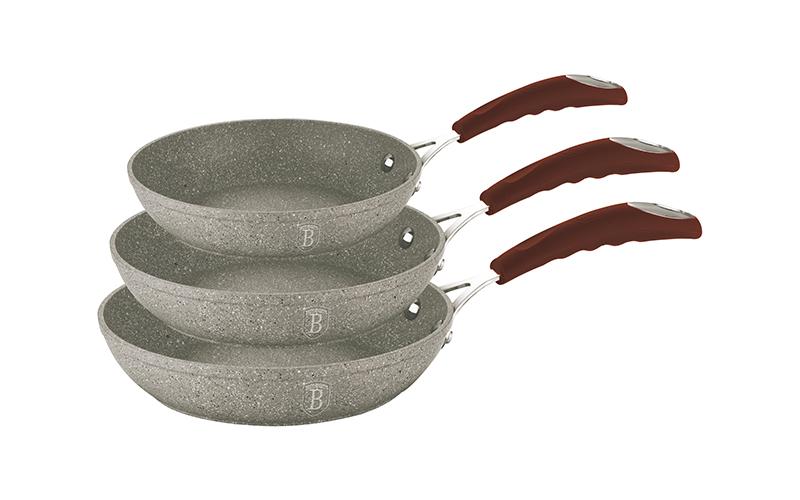 Σετ Αντικολλητικά Τηγάνια 3 τεμ. με Τριπλή Μαρμάρινη Επίστρωση Stone-Touch και π μαγειρικά σκεύη   σετ μαγειρικών σκευών