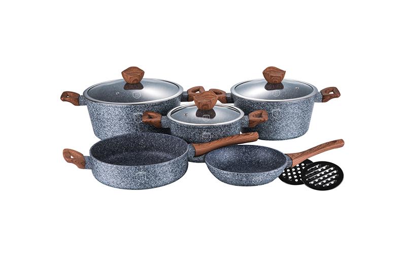 Σετ Μαγειρικά Σκεύη 10 τεμ. με Τριπλή Μαρμάρινη Επίστρωση Stone-Touch και πάτο T σκεύη μαγειρικής   σετ μαγειρικών σκευών