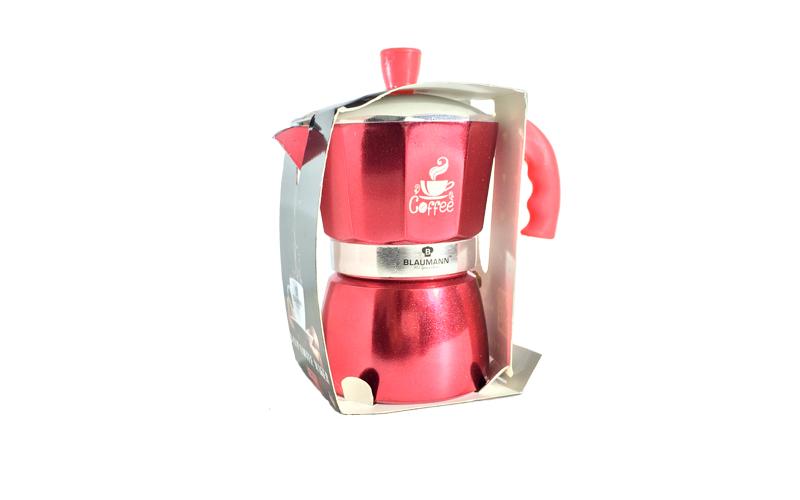 Blaumann Καφετιέρα για Espresso από Αλουμίνιο μέχρι 6 φλυτζάνια σε Κόκκινο χρώμα μικροσυσκευές   καφετιέρες