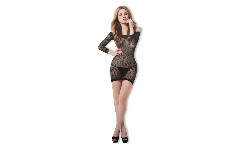Sexy Εσώρουχο Σέξι Διχτυωτό Babydoll σε Μαύρο χρώμα με Μακρύ μανίκι και Λεπτομέρ ερωτικά προϊόντα και ένδυση   sexy εσώρουχα