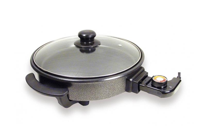 Αντικολλητικό Φουρνάκι πολλαπλών χρήσεων 30cm 1200W με Γυάλινο καπάκι, Sogo PIZZ ηλεκτρικές οικιακές συσκευές   φουρνάκια