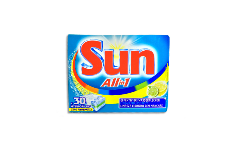 Sun Ταμπλέτες Πλυντηρίου Πιάτων All in 1 με άρωμα λεμονιού σε Πακέτο των 30τμχ.  είδη καθαρισμού   γενικής χρήσης