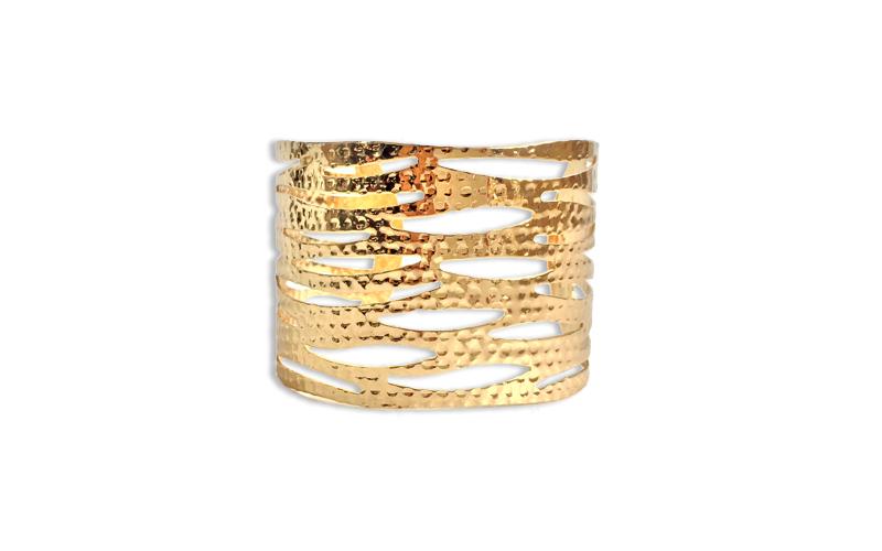Γυναικείο Βραχιόλι cuff 6.5cm με σφυρήλατες βέργες πλεγμένες σε Χρυσό χρώμα - OEM
