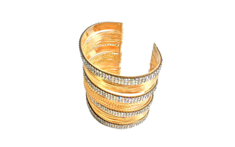 Γυναικείο Βραχιόλι cuff 7cm με βέργες λεπτές και διαμαντάκια σε Χρυσό χρώμα - OE γυναικεία αξεσουάρ και κοσμήματα   faux bijoux