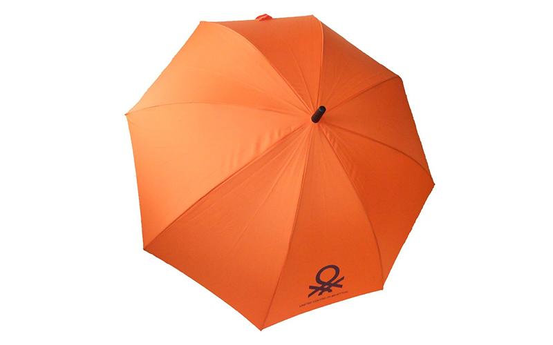 Benetton Αυτόματη Ομπρέλα Βροχής 84cm μήκους με μπαστούνι σε Πορτοκαλί χρώμα - U