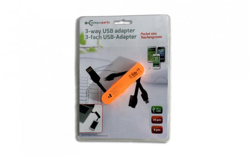 USB Αντάπτορας 3 way για Smartphones iPhone 4/5/6, Micro USB και Samsung σε μέγε τηλεφωνία και tablets   aξεσουάρ για κινητά και tablets