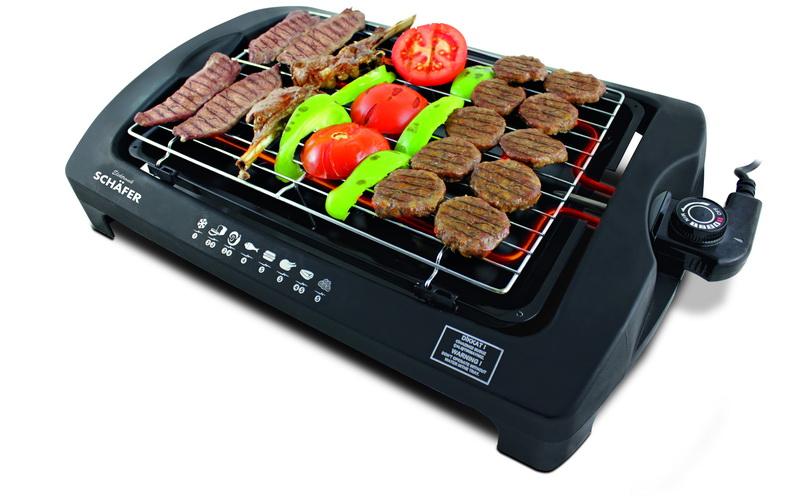 Schafer Μεταλλικό Barbeque Grill 2000W με 5 ρυθμίσεις θερμοκρασίας 50x35x10 cm - σκεύη μαγειρικής   γκριλιέρες ψηστιέρες