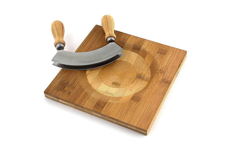 Bamboo Πρακτική Ξύλινη Βάση κοπής από Μπαμπού 20x3cm και Μαχαίρι καμπυλωτό για Β για την κουζίνα   διάφορα κουζίνας