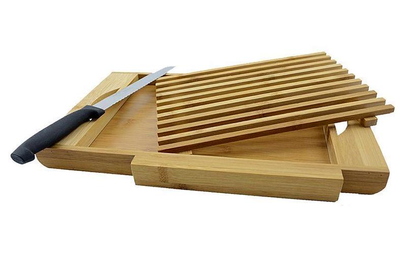 Bamboo Πρακτική Βάση Κοπής Ψωμιού από Μπαμπού με Μαχαίρι, Συλλέκτη για Ψίχουλα και Αφαιρούμενη Βάση με Σχισμές 37x22x3cm, 51297 - Bamboo