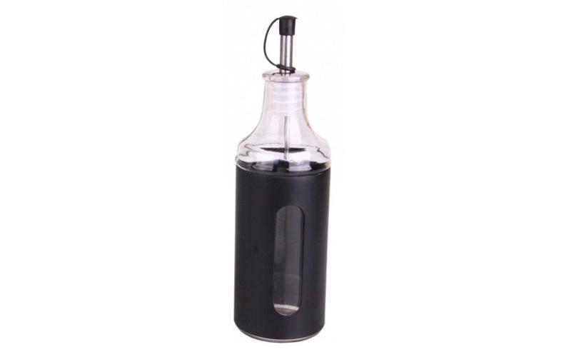 Γυάλινη Καράφα 23cm 400ml με καπάκι για λάδι ή ξύδι με μεταλλικό περίβλημα και π σερβίρισμα   μπουκάλια και δοχεία σερβιρίσματος
