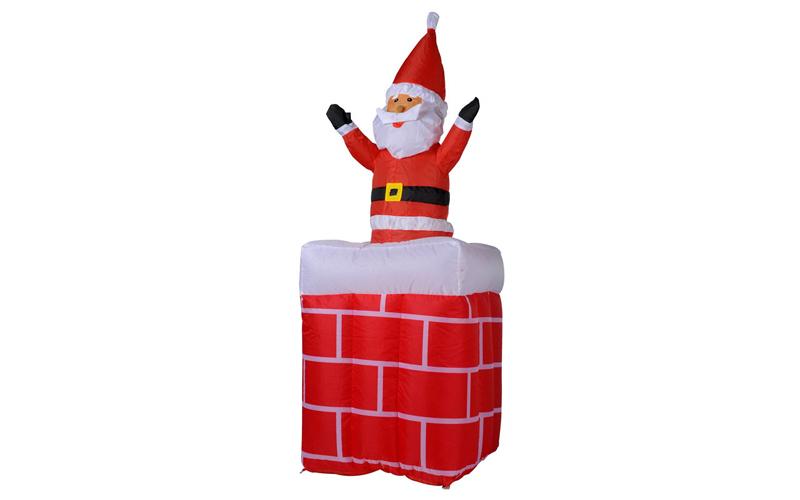 Christmas Gifts Διακοσμητικός Φουσκωτός Άγιος Βασίλης σε Καμινάδα με LED εσωτερι εποχιακά   χριστουγεννιάτικα