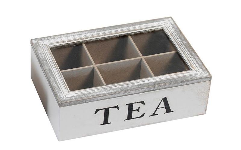 Ξύλινο Vintage Πρακτικό Κουτί αποθήκευσης για φακελάκια τσαγιού Tea box με 6 θέσ κουζίνα   κουτιά κουζίνας και ψωμιέρες