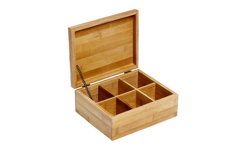 Bamboo Πρακτικό Ξύλινο Κουτί αποθήκευσης για φακελάκια τσαγιού Tea box με 6 θέσε οργάνωση σπιτιού   κουτιά αποθήκευσης