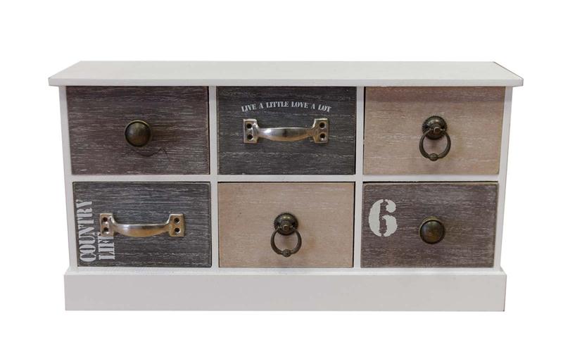 Homestyle 98007 Ξύλινο Vintage Σύνθετο με 6 Αποσπώμενα Συρτάρια 40x13x21.5cm - H έπιπλα   έπιπλα εισόδου και σύνθετα