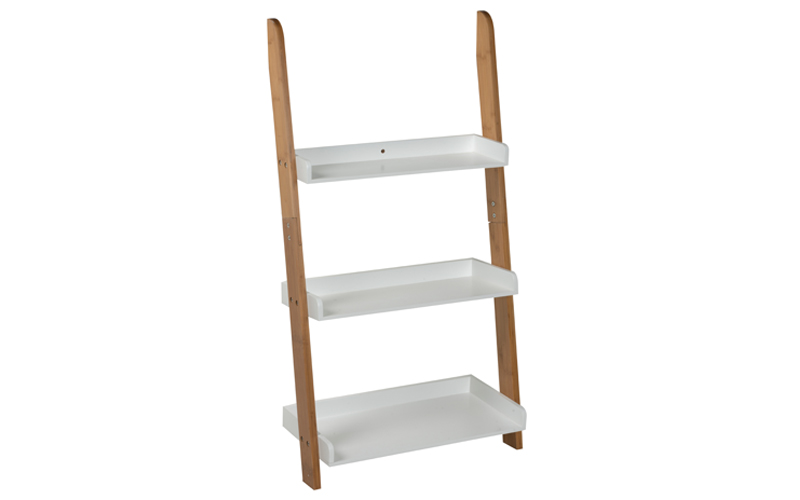 Homestyle 98038 Τριώροφο Ράφι 78x54x36cm σε Σχέδιο Σκάλας σε Λευκό χρώμα με Στηρ έπιπλα   βιβλιοθήκες