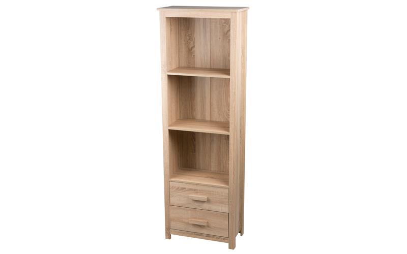 Homestyle 98045 Έπιπλο Ξύλινη Βιβλιοθήκη 60x30x180cm με 3 Ράφια και 2 Συρτάρια σ έπιπλα   βιβλιοθήκες